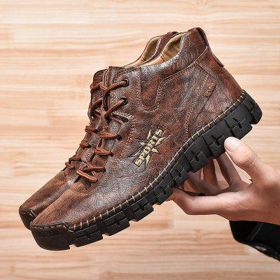 Mens Outdoor Leisure Leather Winter High-top Tooling Shoes