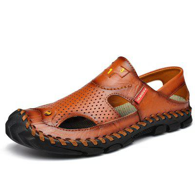 Mens Sandals Large Size Leather Beach Hole Shoes