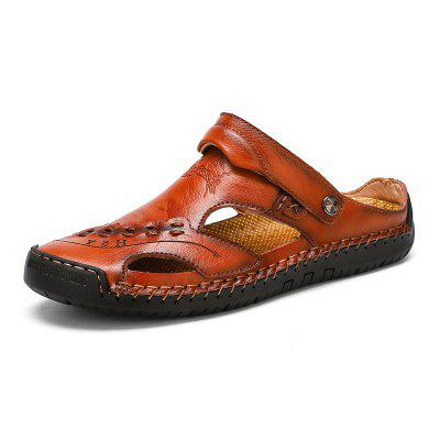 Mens Casual Leather Sandals Breathable Trend Outdoor Beach Shoes