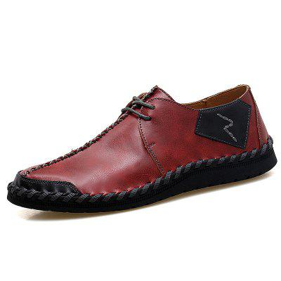Mens Leather Breathable Lazy Casual Single Shoes