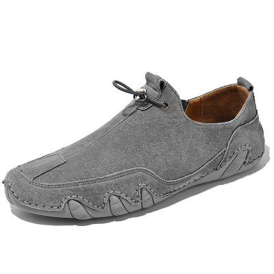 Mens Leather Soft Bottom Breathable Bean Driving Shoes