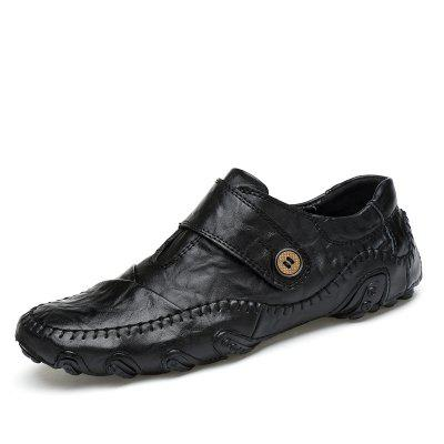 Mens Casual Breathable Leather Shoes Low-cut Fashion Driving