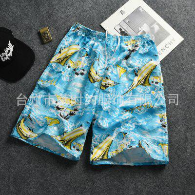 Mens Sports Beach Pants Summer Casual Five-point Male Loose Big Floral Tide Quick-drying Volume Shorts