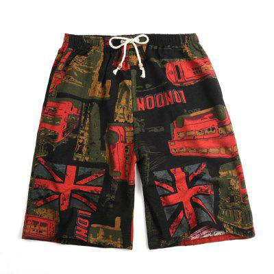 Mens Casual Shorts Summer Cotton and Linen Printed Beach Pants Loose Quick-drying