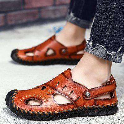 Mens Leather Sandals Casual Shoes Outdoor Buckle
