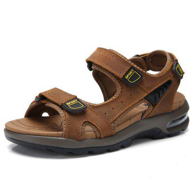 Summer Beach Shoes Mens Leather Sandals Soft Bottom Anti-slip Breathable Hollow Outdoor Casual Large Size Hiking
