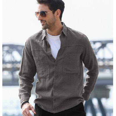 Mens Casual Shirt  Cotton Linen Single Breasted Pocket Fashion Long-sleeved Male