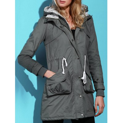 Chic Long Sleeve Solid Color Pocket Coat For Women