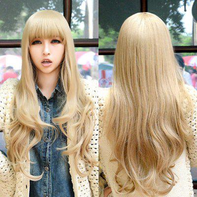 Charming Long Full Bang Capless Fluffy Wavy Light Blonde Synthetic Cosplay Wig For Women