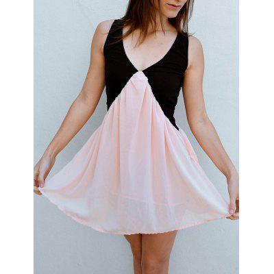 V Neck Two Tone Chiffon Short Dress