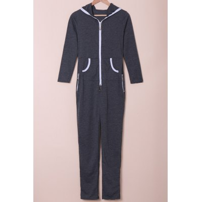 Stylish Hooded Zippered Long Sleeve Bodycon Jumpsuit For Women