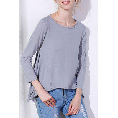 Fashionable Scoop Neck Solid Color Asymmetric T-Shirt For Women