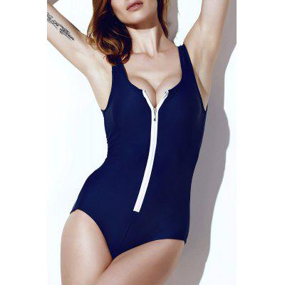 Sexy Solid Color Zippered One-Piece Swimsuit For Women цена 2017