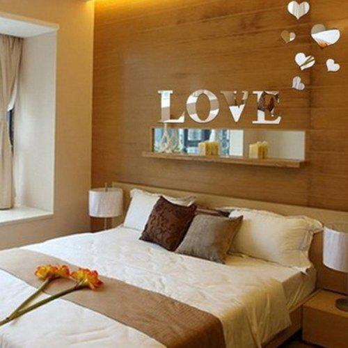 stylish love heart shape mirror wall stickers for livingroom bedroom