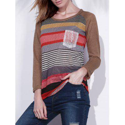 Fashionable Colorful Scoop Neck Asymmetrical Long Sleeve T-Shirt For Women