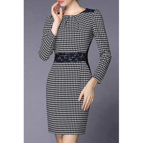2a3068e3 Lace Panel Houndstooth Sheath Dress - $99.35 Free Shipping|GearBest.com