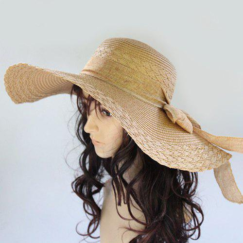 3256a45be9f87 Chic Lace-Up Wide Brim Sun-Resistant Straw Hat For Women | Gearbest