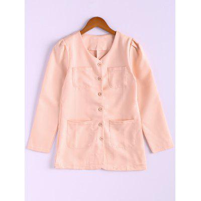 Casual Style Scoop Neck Candy Color Puff Sleeve Cotton Womens Coat