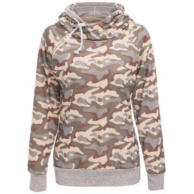 Stylish Hooded Long Sleeve Camo Print Womens Pullover Hoodie