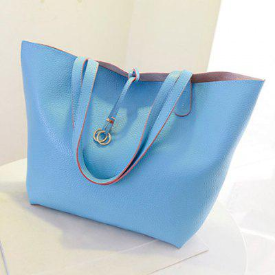 Concise PU Leather and Metal Ring Design Shoulder Bag For Women