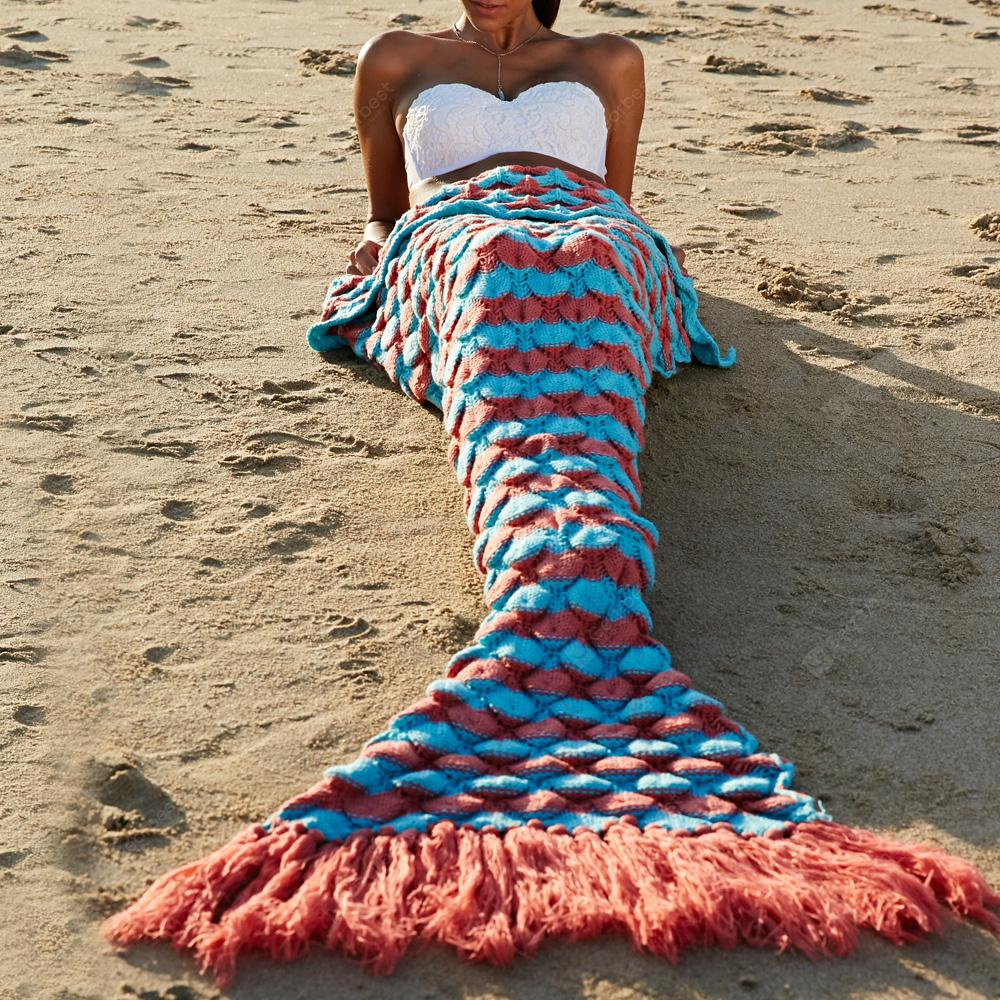 High Quality Wool Knitting Fish Scale and Tassel Design Mermaid Shape Blanket