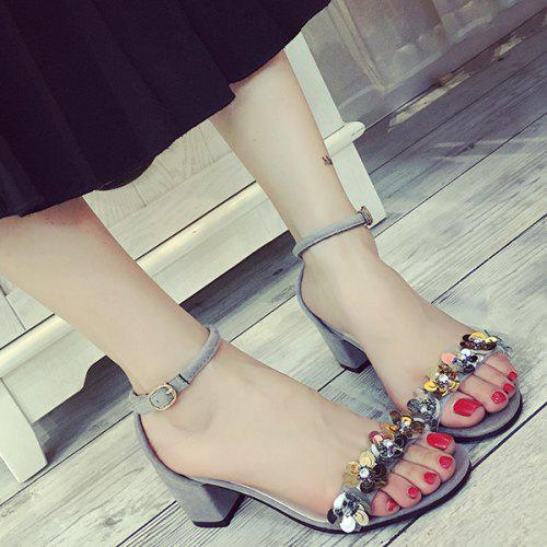 a41ba637a4e Stylish Block Heel and Flowers Design Sandals For Women -  21.69 ...