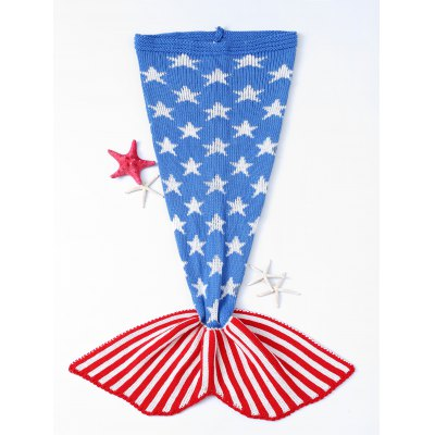 Stars and Stripes Pattern Knitting Mermaid Shape Blanket