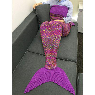 Chic Quality Colorful Rhombus Design Knitting Mermaid Shape Blanket