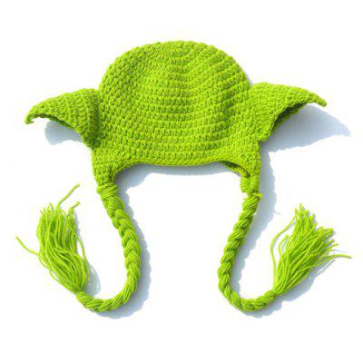 Stylish Master Yoda Ear Shape Embellished Crocheting Knitted Beanie For Kids