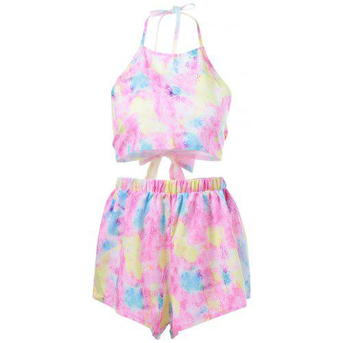 dfd03bdef06 Backless Tie-Dye Crop Top + Pastel Shorts Women -  7.78 Free  Shipping