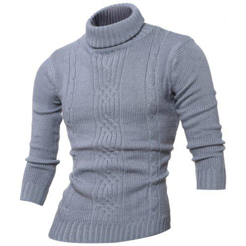 Generic Mens Long Sleeve Knitting Turtleneck Solid Color Pullover Sweaters