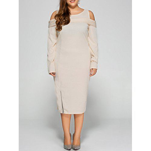 Cold Shoulder Plus Size Long Sleeve Cream Dress with Zipper