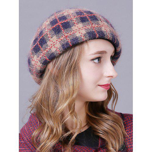 42459a6ab21 Outdoor Plaid Pattern Faux Angora Beret Hat -  38.14 Free Shipping ...