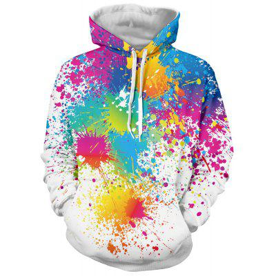 Paint Splatter Print Long Sleeve Pullover Cool Hoodie
