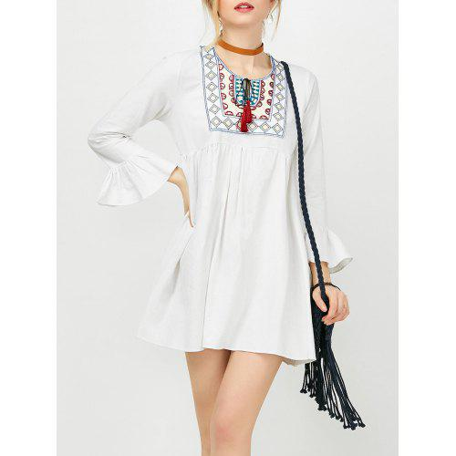 c53f34a24c669 Embroidery Flare Sleeve Tassels Mini Dress - $23.50 Free Shipping ...
