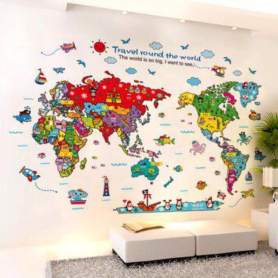 Cartoon The World Map Wall Stickers For Kids