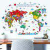 Cartoon The World Map Wall Stickers For Kids - COLORMIX
