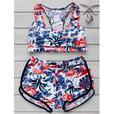 Printed Crop Top and Boyshorts Bikini Set