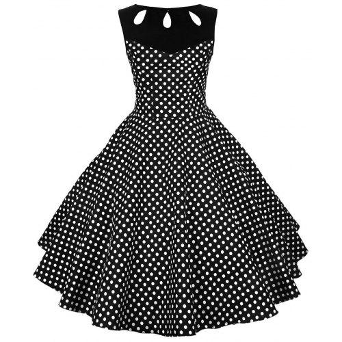 bf3758e052e3f Polka Dot Cut Out Vintage Dress