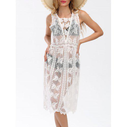 Sleeveless See Thru Lace Cover Up Dress