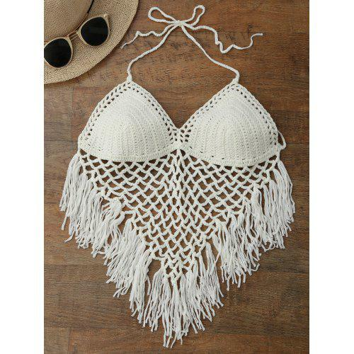 Open Back Halter Crochet Fringe Top Gearbest