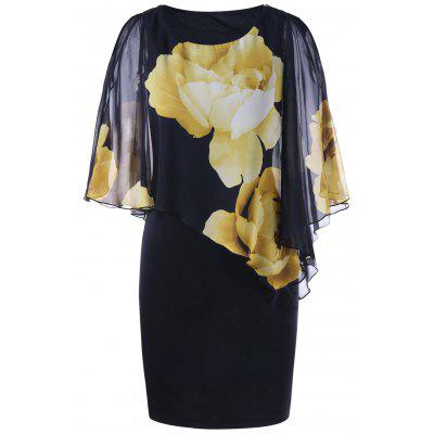 Slit Sleeve Floral Capelet Dress