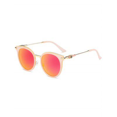 Mirrored Reflective Round Vintage Cat Eye Sunglasses