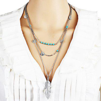 Faux Turquoise Feather Disc Layered Necklace