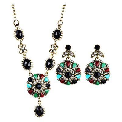 Rhinestone Flower Necklace and Earring Set