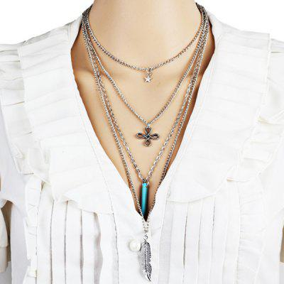 Alloy Feather Star Chinese Knot Layered Necklace