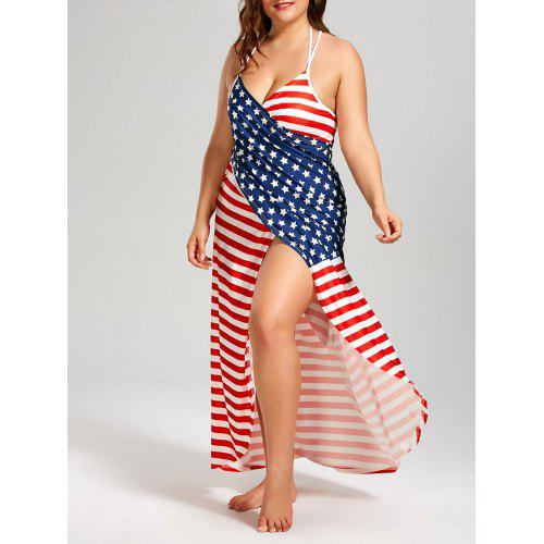 Plus Size American Flag Cover Up Wrap Dress - $19.69 Free Shipping ...
