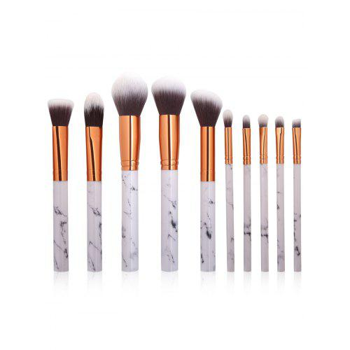 10Pcs Marbling Design Handle Makeup Brushes Set