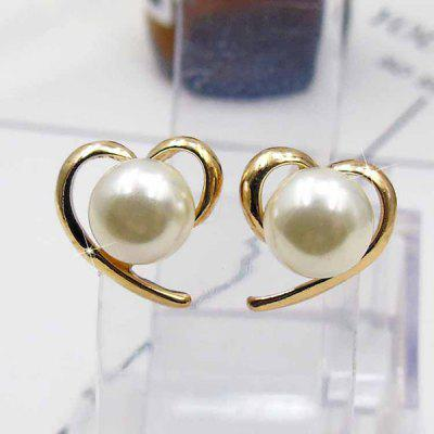 Faux Pearl Heart Stud Earrings