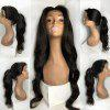 Long Free Part Wavy Lace Front Synthetic Wig - BLACK